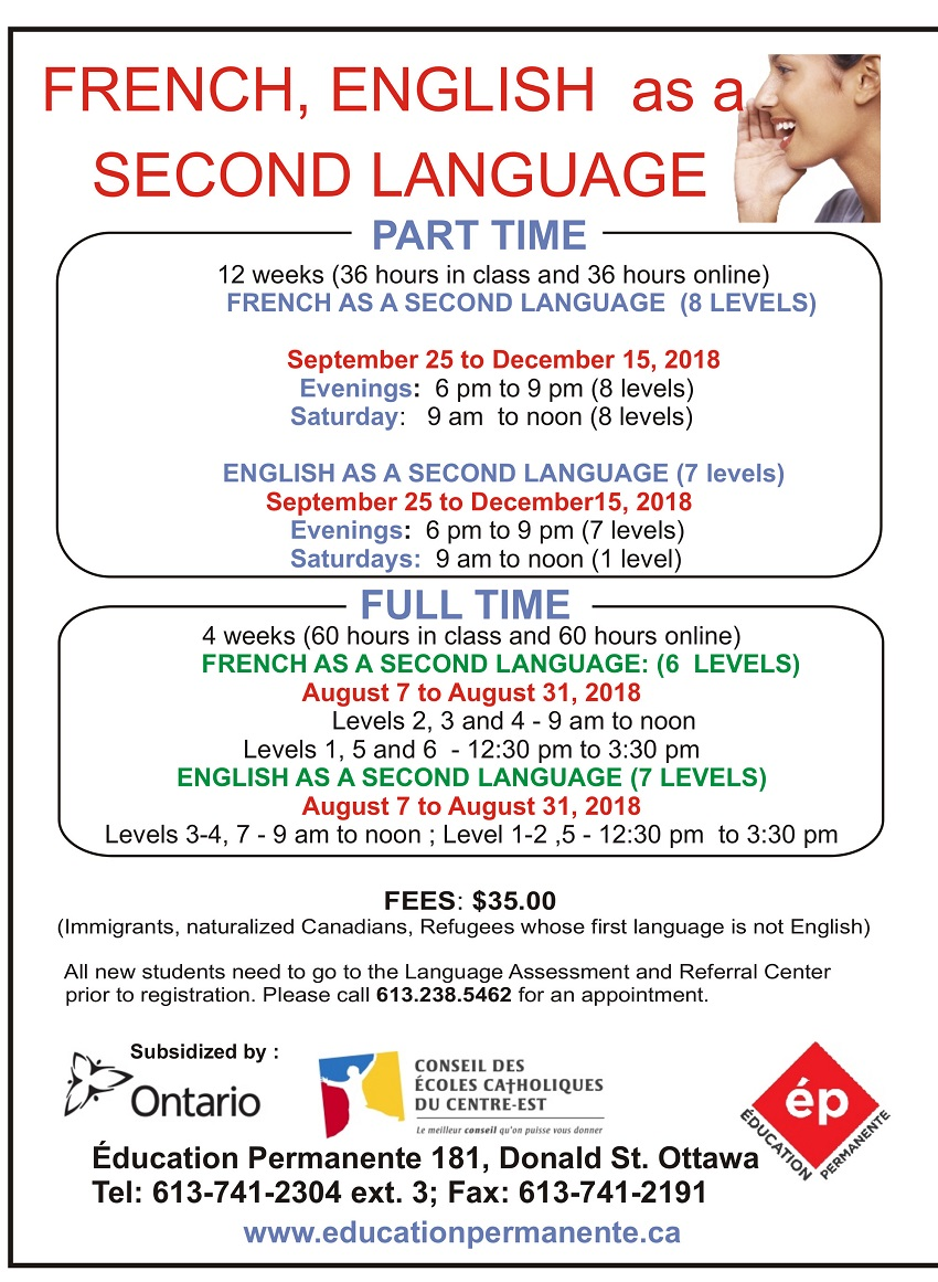 French & English as a Second Language
