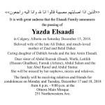 Condolences – Yazda Elsaadi Daher