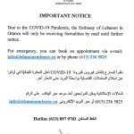 Important Notice from the Embassy of Lebanon