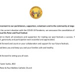 Cancellation of Sts. Peter & Paul 2020 Festival