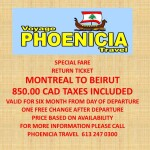 Montreal to Beirut  Round Trip